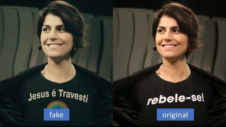 This manipulated photo of Manuela D'Avila, a leftist candidate for vice president in Brazil's 2018 elections, is an example o