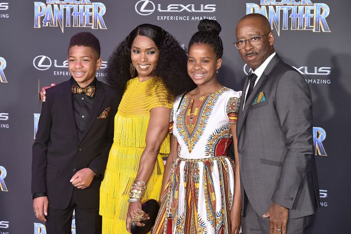 "Angela Bassett and her family attend the Hollywood premiere of ""Black Panther"" on Jan. 29, 2018."