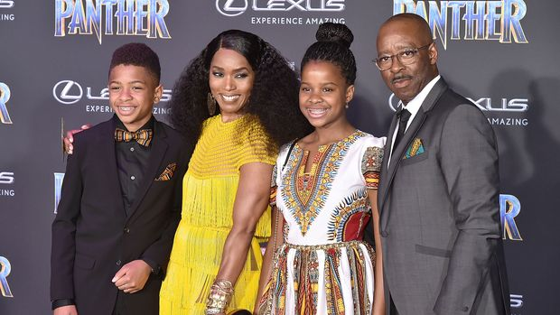 "HOLLYWOOD, CA - JANUARY 29:  Slater Vance, Angela Bassett, Bronwyn Vance and Courtney B. Vance attend the Premiere Of Disney And Marvel's ""Black Panther"" - Arrivals on January 29, 2018 in Hollywood, California.  (Photo by David Crotty/Patrick McMullan via Getty Images)"