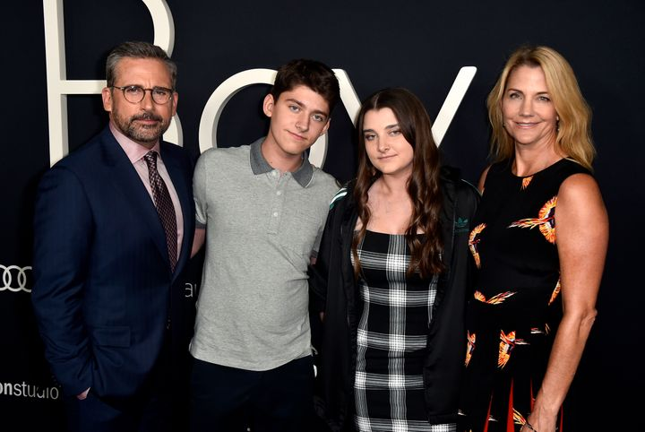 "The Carell family at the premiere of ""Beautiful Boy"" on Oct. 8, 2018."