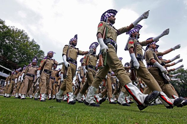 Soldiers parade during the official celebration of India's Independence day in Srinagar, Kashmir on August...