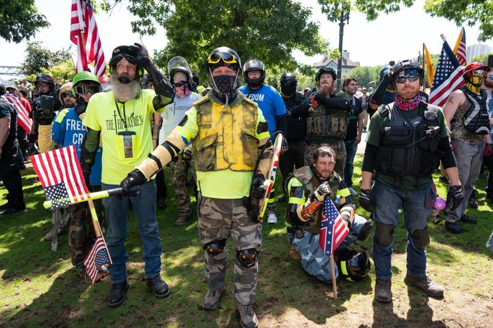Far-right protesters in Portland, Oregon, march through Tom McCall Waterfront Park as part of a fascist rally on Aug. 4, 2018. Another rally, this one planned by the neofascist Proud Boys gang, is scheduled for this Saturday.