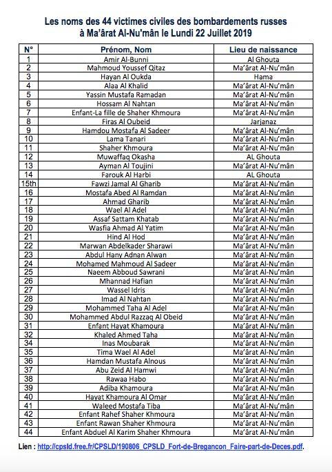 Le Collectif pour une Syrie Libre et Démocratique a listé chacun des noms des 44 victimes...