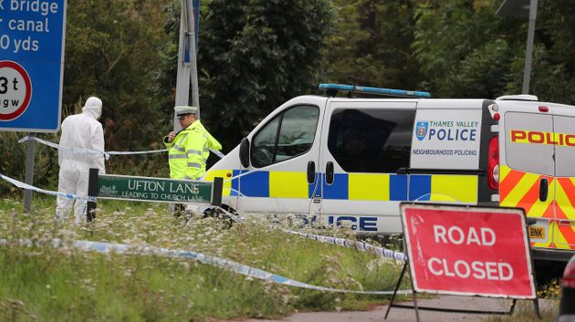 Forensic officers at the scene where PC Andrew Harper was