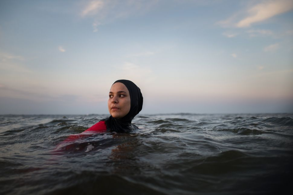 Manar Hussein at a beach in New Jersey, June 26,