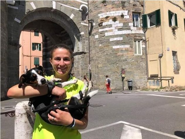 Martina Pastorino and her dog, Kira, traveled from Alessandria, Italy, to Rome to raise awareness about violence against wome