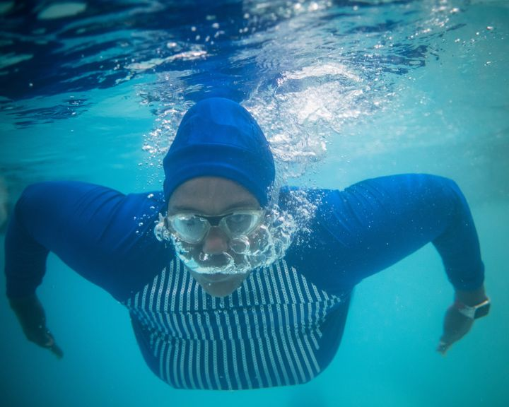 Dananai Morgan swims at a YMCA in Boston on July 2, 2019.