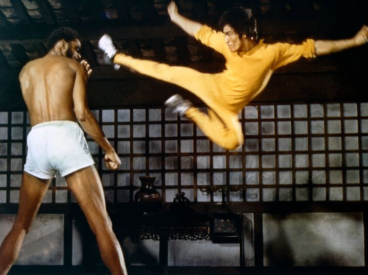 """Kareem Abdul-Jabbar (left) and Bruce Lee (right) in """"Game of Death."""""""