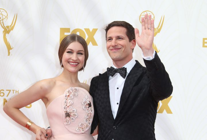 Samberg and Newsom arrive at the 67th Annual Primetime Emmy Awards on Sept. 20, 2015, in Los Angeles.