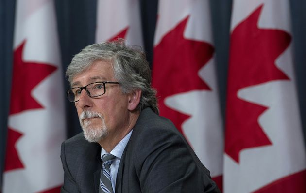 Canada's Privacy Commissioner Daniel Therrien listens to a question during a news conference on April...