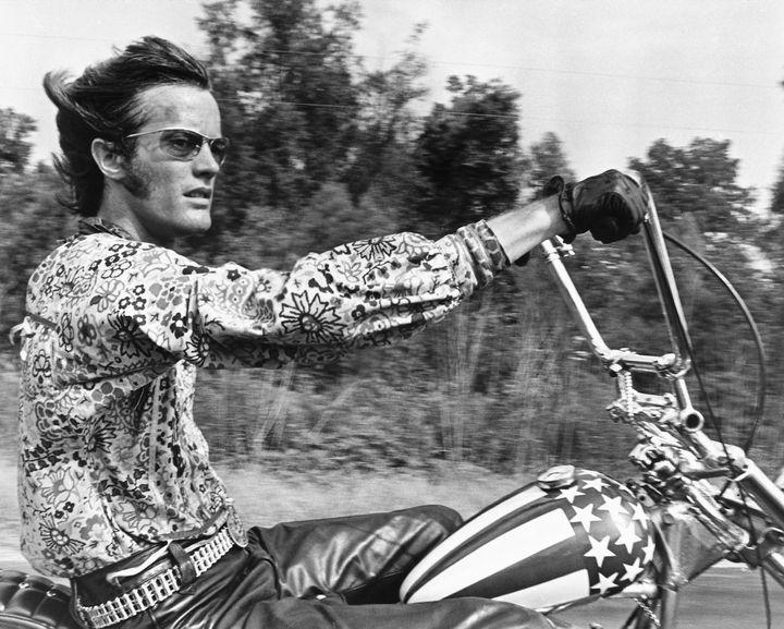 "Peter Fonda in ""Easy Rider"" (1969)."