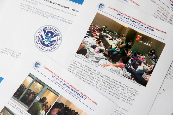 A portion of a report from government auditors shows people penned into overcrowded Border Patrol facilities on July 2, 2019.