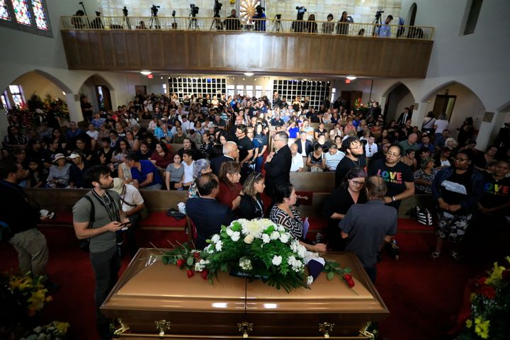 A large crowd attends Margie Reckard's funeral at La Paz Faith Memorial & Spiritual Center in El Paso, Texas.