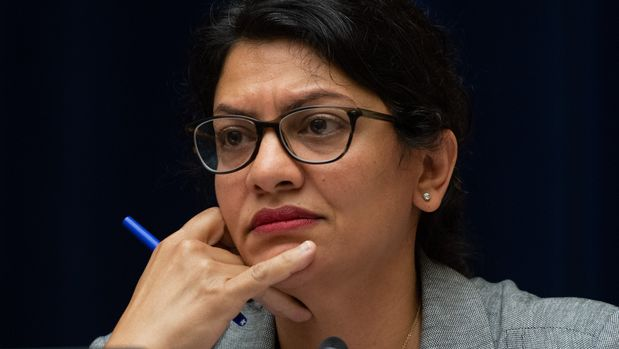 US Representative Rashida Tlaib, Democrat of Michigan, questions US Acting Secretary of Homeland Security Kevin McAleenan during a House Oversight and Reform Committee hearing on Capitol Hill in Washington, DC, July 18, 2019. (Photo by SAUL LOEB / AFP)        (Photo credit should read SAUL LOEB/AFP/Getty Images)