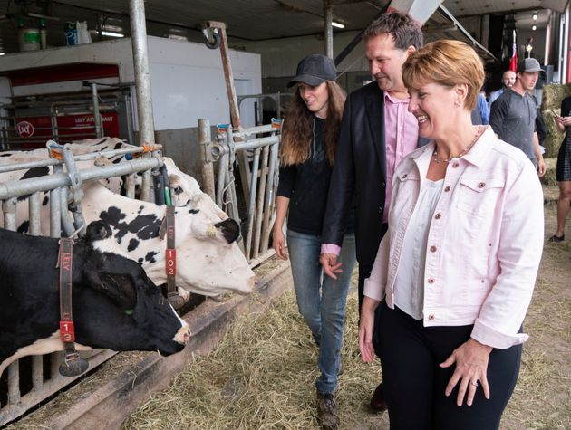 Marie-Claude Bibeau, Minister of Agriculture and Agri-Food, Pierre Lampron, president of the Dairy Farmers...