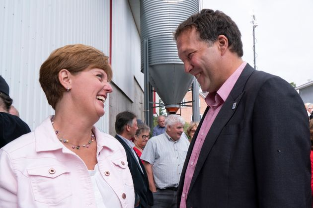 Marie-Claude Bibeau, Minister of Agriculture and Agri-Food, chats with Pierre Lampron, president of the...
