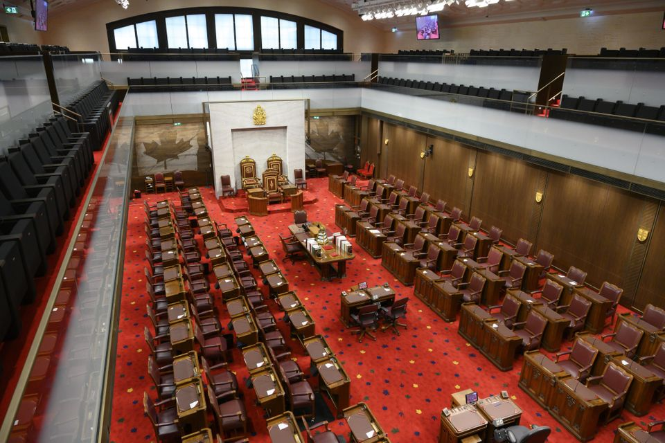 The Senate of Canada building and Senate Chamber are pictured in Ottawa on Feb. 18,
