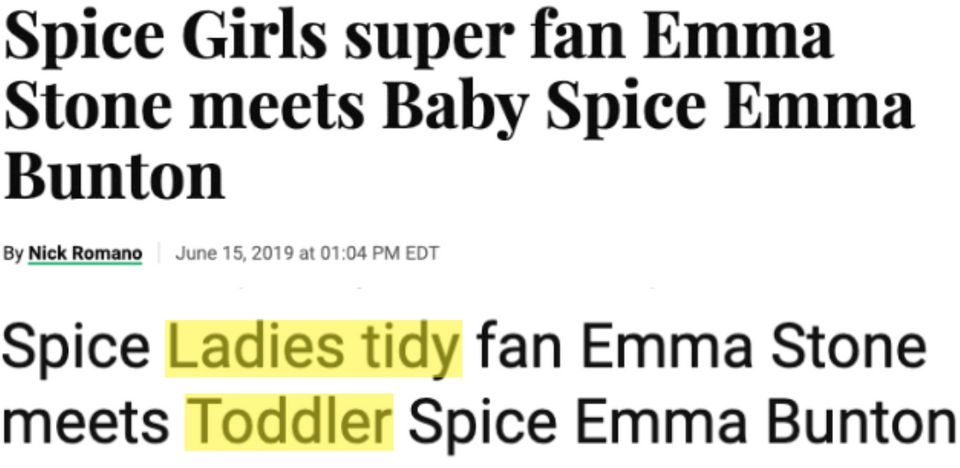 Top: Entertainment Weekly's headline.Bottom: A scammer site's plagiarized
