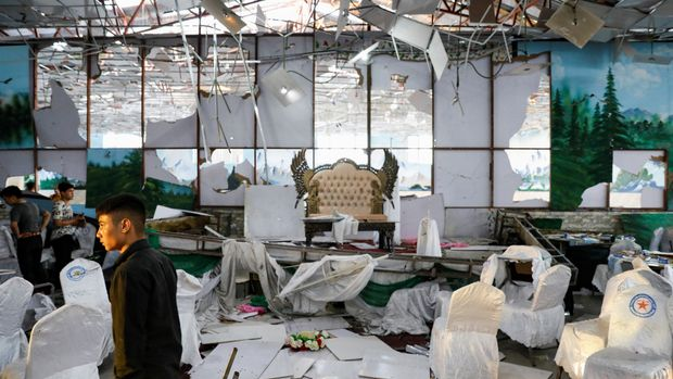 Workers of a wedding hall inspect after a blast in Kabul, Afghanistan August 18, 2019. REUTERS/Mohammad Ismail