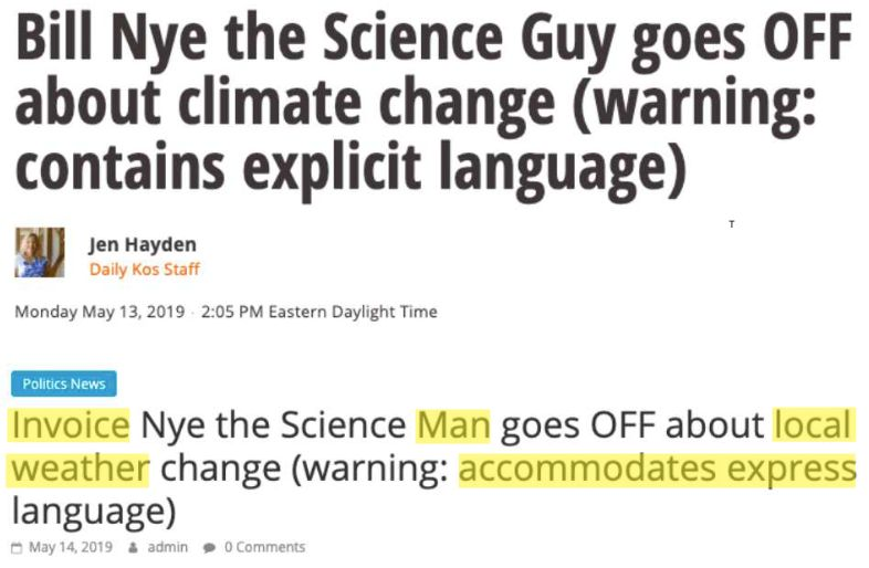 Top: Daily Kos' headline.Bottom: A scammer site's plagiarized