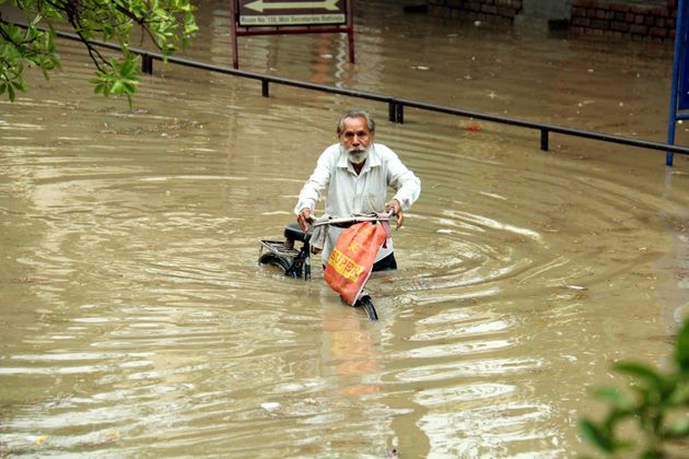 A person got stranded in water in Bathinda district in