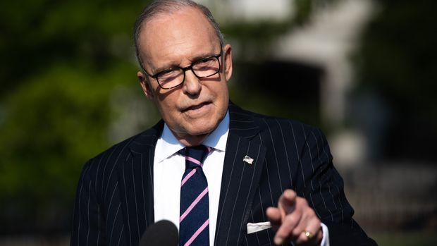 "White House economic adviser Larry Kudlow speaks to the media on the driveway of the White House in Washington, DC, August 6, 2019. - President Donald Trump wants a trade agreement with China, but it must be ""the right deal,"" White House economic advisor Larry Kudlow said Tuesday. ""The president was not happy with the progress"" of talks in Beijing earlier this month, Kudlow told CNBC. ""The president is defending the American economy"" against ""a lot of unfair trading practices."" (Photo by SAUL LOEB / AFP)        (Photo credit should read SAUL LOEB/AFP/Getty Images)"