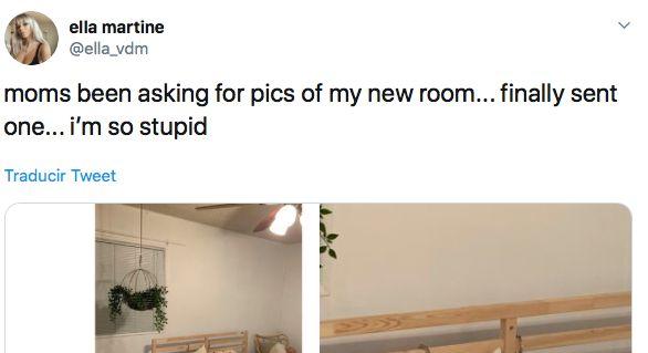 Le envía a su madre una foto de su habitación... y comete un embarazoso