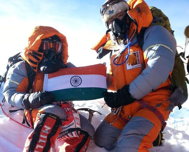 Poorna Malavath (left) climbed Mount Everest when she was just