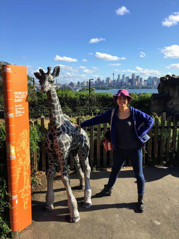 オーストラリアにて。キリンの子どもに負けない身長。