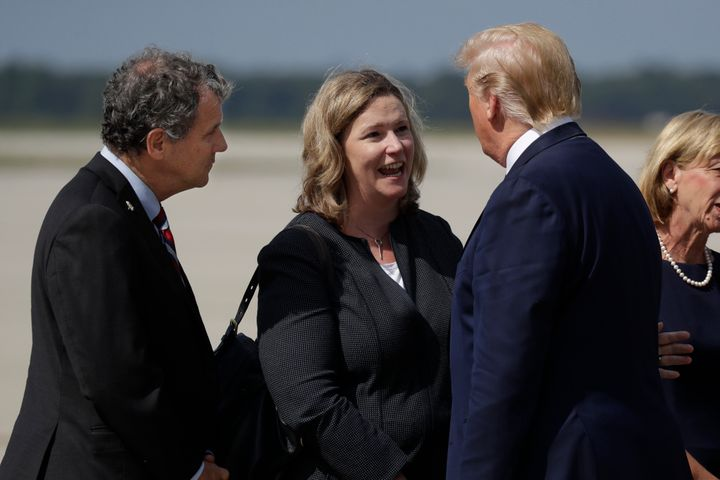 Sen. Sherrod Brown (D-Ohio) and Mayor Nan Whaley met with President Trump several days after the Aug. 4 mass shooting in Dayt