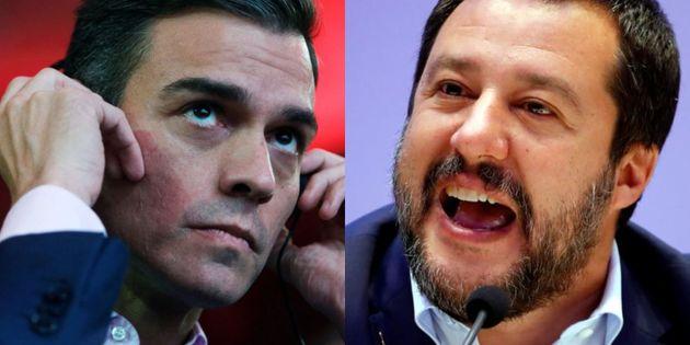 Pedro Sánchez y Matteo Salvini, en sendas imágenes de