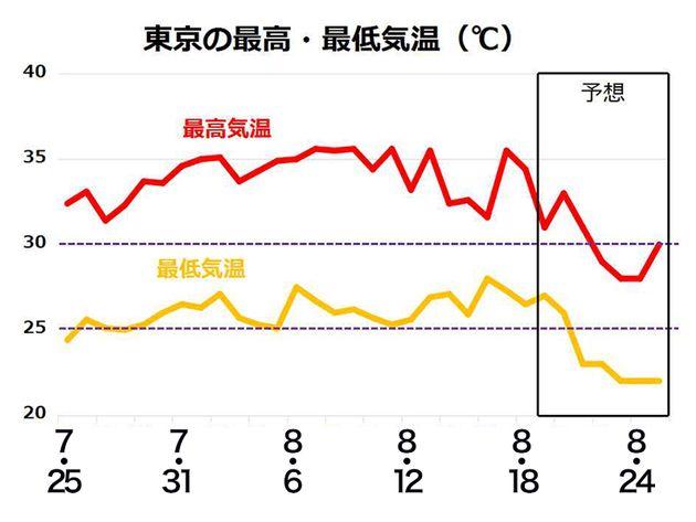 東京の最高・最低気温(℃)