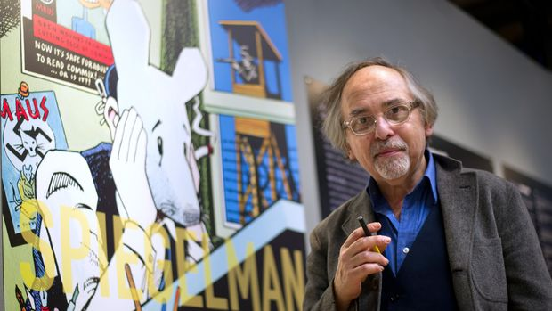 """US comic book artist Art Spiegelman poses on March 20, 2012 in Paris, prior to the private viewing of his exhibition 'Co-Mix', which will run from March 21 to May 21, 2012 at the Pompidou centre. The Swedish-born New Yorker Spiegelman, 62, is known as the creator of """"Maus"""", an animal fable of his Jewish father's experience in the Holocaust -- the only comic book to have won a Pulitzer Prize, the top US book award. AFP PHOTO / BERTRAND LANGLOIS (Photo credit should read BERTRAND LANGLOIS/AFP/Getty Images)"""