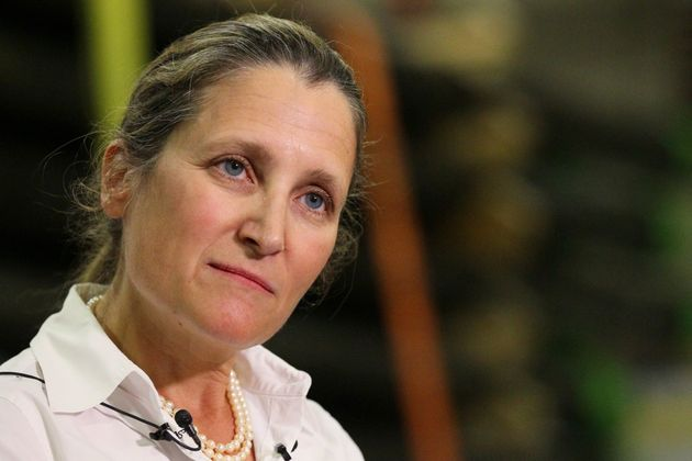 Foreign Affairs Minister Chrystia Freeland makes an announcement in Calgary on Aug. 9,
