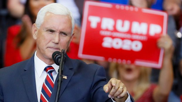 Vice President Mike Pence speaks at a campaign rally at U.S. Bank Arena, Thursday, Aug. 1, 2019, in Cincinnati. (AP Photo/John Minchillo)