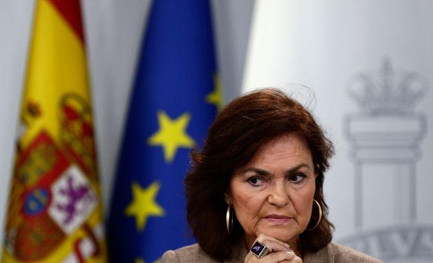 Carmen Calvo, vicepresidenta del Gobierno, en una reciente rueda de prensa tras el Consejo de Ministros,...