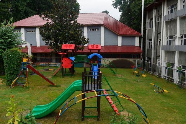A general view of the empty playing area of a closed school in Srinagar on August 19,
