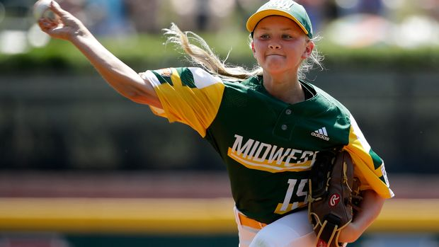 Coon Rapids, Minnesota's Maddy Freking delivers during the third inning of a baseball game against South Riding, Virginia at the Little League World Series tournament in South Williamsport, Pa., Sunday, Aug. 18, 2019. Virginia won 11-0. (AP Photo/Gene J. Puskar)