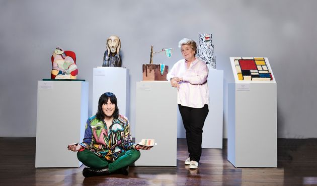 Great British Bake Off Hosts Noel Fielding And Sandi Toksvig Dressed As Judges Prue Leith And Paul Hollywood...