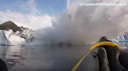 Κωπηλάτης με καγιάκ καταγράφει σε βίντεο την κατάρρευση παγετώνα στην