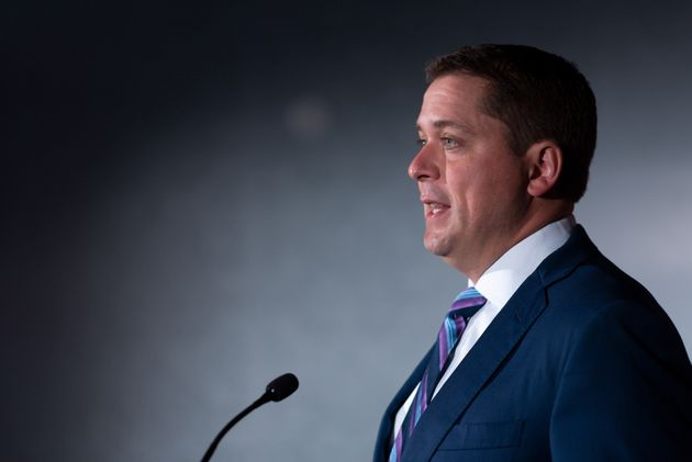 Conservative Leader Andrew Scheer speaks at a press conference at Hotel Saskatchewan in Regina, Saskatchewan...