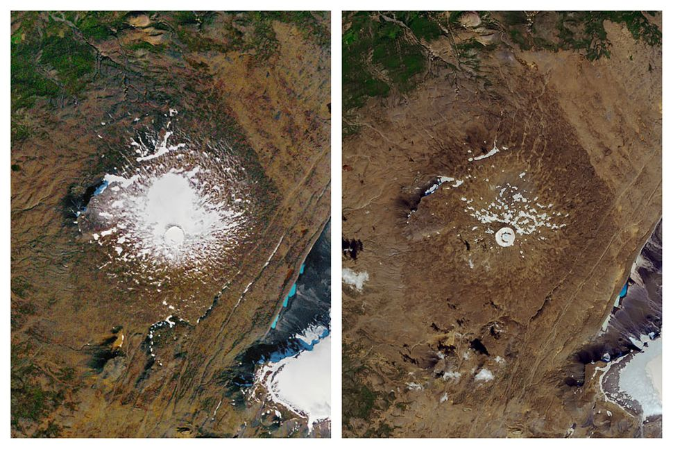 This combination of Sept. 14, 1986, left, and Aug. 1, 2019, photos provided by NASA shows the shrinking of the Okjokull glaci