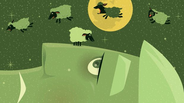 vector illustration of sleepless man with group of lambs…