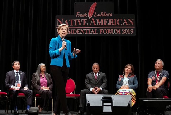"""I am sorry for harm I have caused,"" Sen. Elizabeth Warren (D-Mass.) told the audience at the Frank LaMere Native Ameri"