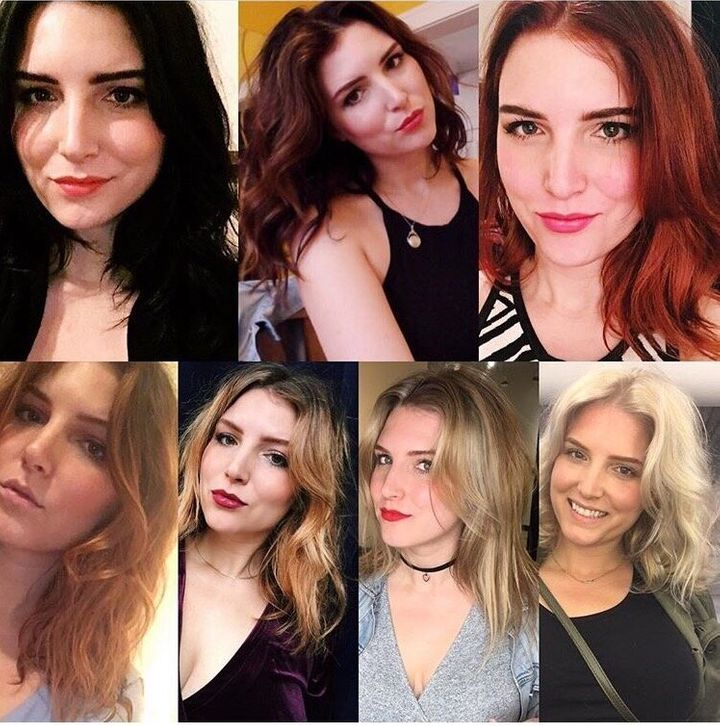 The author with her various hair colors.