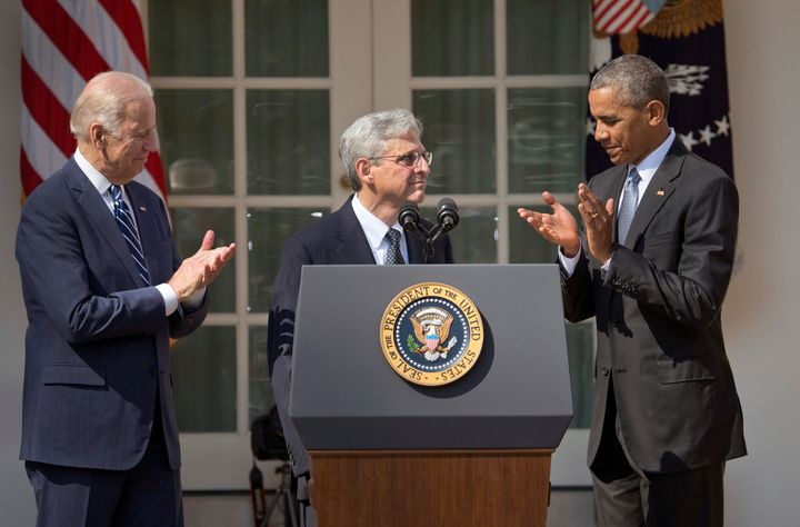 The GOP Senate's refusal to even consider Merrick Garland, center, Obama's 2016 nominee to the Supreme Court, was a wake-up c