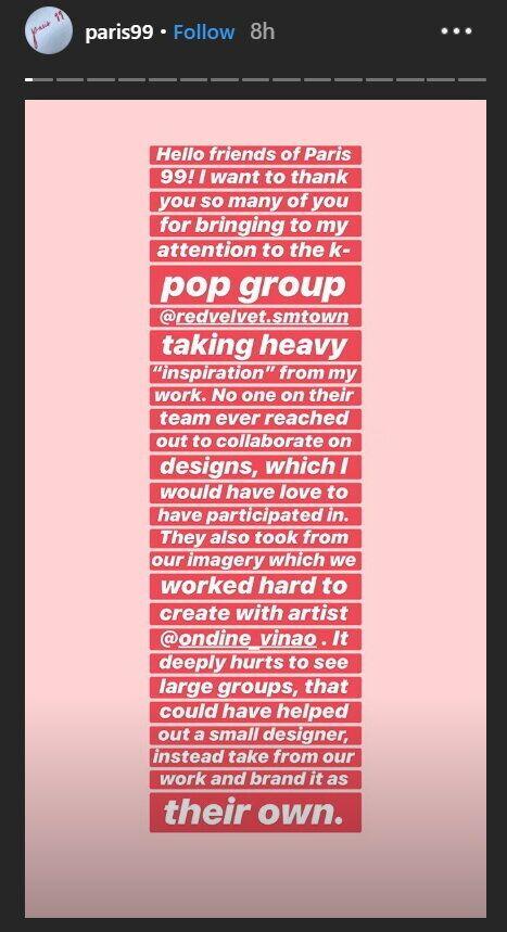 뉴욕의 한 패션 브랜드가 레드벨벳 새 앨범 재킷 이미지에 '디자인 도용'