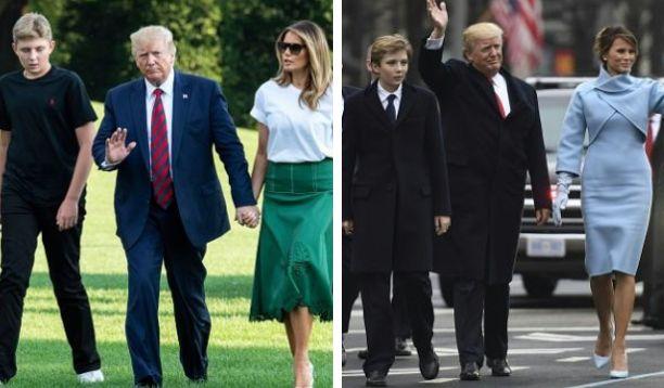 Barron Trump trasformato |  a 13 anni è più alto di papà e mamma tacchi compresi