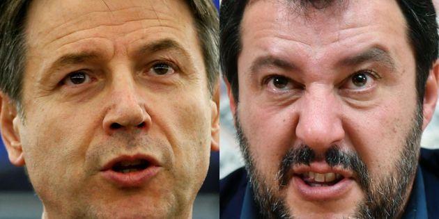 Giuseppe Conte y Matteo Salvini, en sendas imágenes de