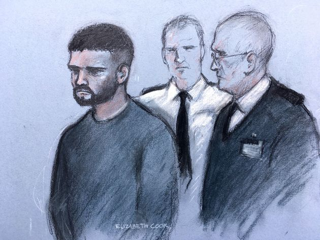 A court sketch of Jed Foster, flanked by police officers